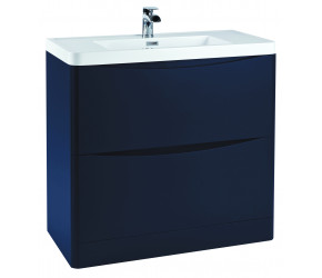 Iona Contour Indigo Blue Floor Standing Two Drawer Vanity Unit and Basin 900mm
