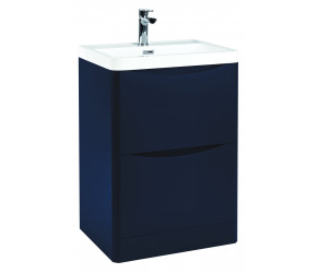 Iona Contour Indigo Blue Floor Standing Two Drawer Vanity Unit and Basin 600mm