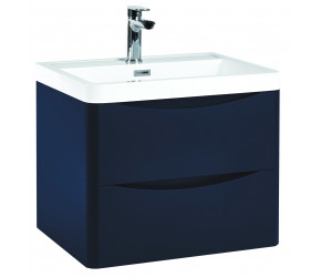 Iona Contour Indigo Blue Wall Hung Two Drawer Vanity Unit and Basin 600mm