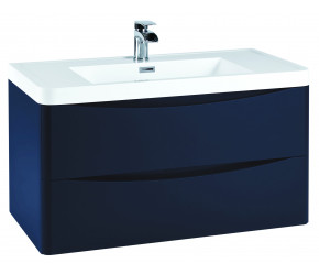 Iona Contour Indigo Blue Wall Hung Two Drawer Vanity Unit and Basin 900mm
