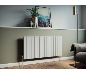 Eucotherm Mars White Vertical Flat Single Panel Designer Radiator 600mm x 595mm