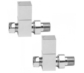 Eastgate Square Chrome Straight Radiator Valves (pair)