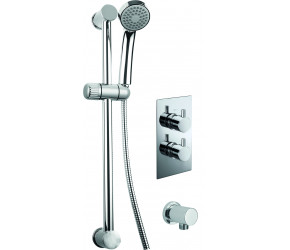 Trisen Acksor Chrome Round Concealed Thermostatic Valve Wall Outlet and Kit