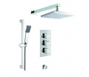 Trisen Raffa Chrome Square Concealed Thermostatic Valve Fixed Head Wall Outlet and Kit
