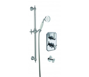 Trisen Sterma Chrome Concealed Thermostatic Shower with Wall Outlet and Shower Kit