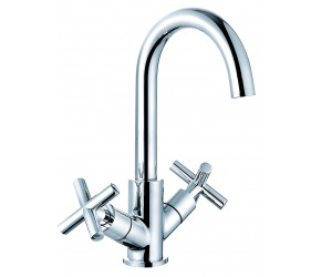 Trisen Prose Chrome Two Cross Handle Kitchen Mixer Tap