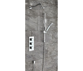 Iona Square Concealed Thermostatic Triple Shower Valve With Riser Kit