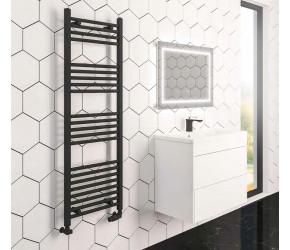 Eastbrook Wingrave Straight Matt Black Designer Towel Rail 800mm High x 300mm Wide