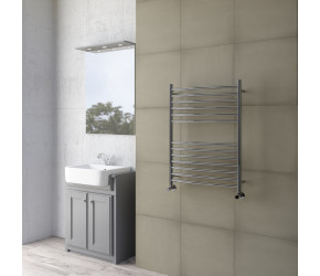 DBS Curved Polished Stainless Steel Towel Rail 800mm High x 500mm Wide