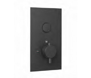 Eastbrook Smooth Black Round Concealed Thermostatic Single Push Button Shower Valve