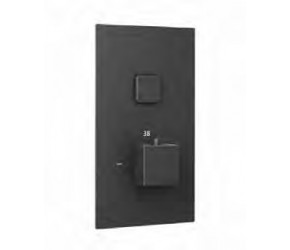 Eastbrook Smooth Black Square Concealed Thermostatic Single Push Button Shower Valve