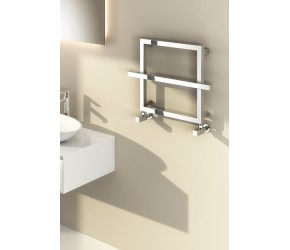 Reina Lago Designer Chrome Double Bar Towel Rail 450mm High x 600mm Width