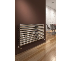 Reina Artena Double Panel Polished Stainless Steel Radiator 590mm x 400mm
