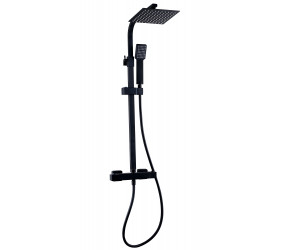 Kartell Nero Black Square Thermostatic Bar Shower Valve with Overhead Drencher and Sliding Handset