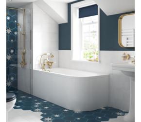 BC Designs Solid Blue Amerina Left Handed Corner Bath with Panel 1650 x 725
