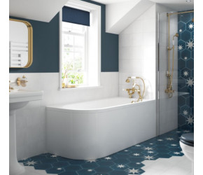 BC Designs Solid Blue Amerina Right Handed Corner Bath with Panel 1650 x 725