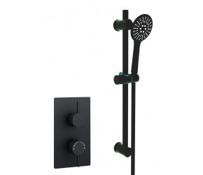 Kartell Nero Round Black Thermostatic Concealed Shower With Adjustable Slider Rail Kit