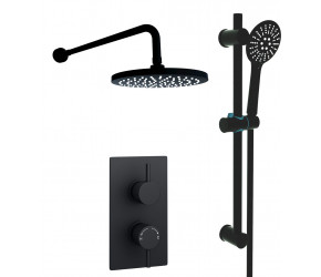 Kartell Nero Round Black Thermostatic Concealed Shower With Adjustable slider Rail Kit and Fixed Over Head Drencher