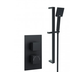 Kartell Nero Square Black Thermostatic Concealed Shower With Adjustable Slider Rail Kit