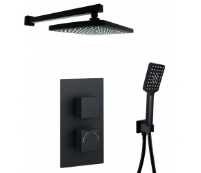 Kartell Nero Square Black Thermostatic Concealed Shower With Separate Handshower and Fixed Overhead Drencher