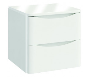 Iona Contour Gloss White Wall Hung Two Drawer Vanity Unit With Counter Top 500mm