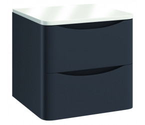 Iona Contour Matt Grey Wall Hung Two Drawer Vanity Unit With Counter Top 500mm
