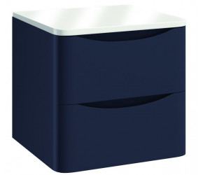 Iona Contour Indigo Blue Wall Hung Two Drawer Vanity Unit With Counter Top 500mm