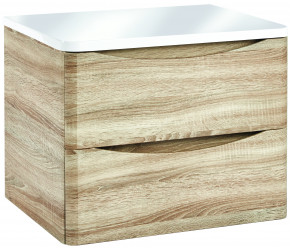 Iona Contour Driftwood Wall Hung Two Drawer Vanity Unit With Counter Top 600mm
