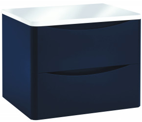 Iona Contour Indigo Blue Wall Hung Two Drawer Vanity Unit With Counter Top 600mm