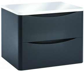 Iona Contour Matt Grey Wall Hung Two Drawer Vanity Unit With Counter Top 600mm