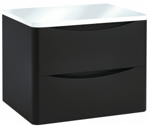Iona Contour Wolf Grey Wall Hung Two Drawer Vanity Unit With Counter Top 600mm