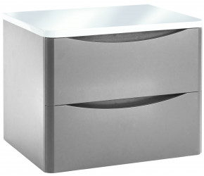 Iona Contour Pebble Grey Wall Hung Two Drawer Vanity Unit With Counter Top 600mm