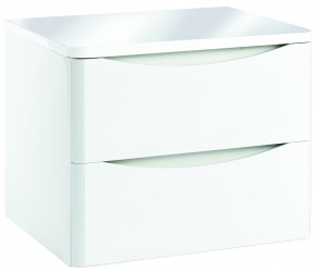 Iona Contour Gloss White Wall Hung Two Drawer Vanity Unit With Counter Top 600mm