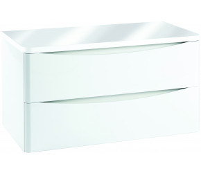 Iona Contour Gloss White Wall Hung Two Drawer Vanity Unit With Counter Top 900mm