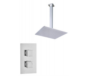 Tailored Square Chrome Concealed Thermostatic 2 Handle 1 Way Shower Kit