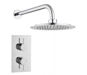 Tailored Round Chrome Concealed Thermostatic 2 Handle 1 Way Shower Kit