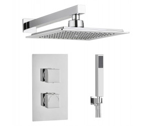 Tailored Square Chrome Concealed Thermostatic 2 Handle 2 Way Shower Kit