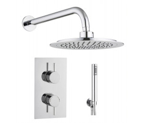 Tailored Round Chrome Concealed Thermostatic 2 Handle 2 Way Shower Kit