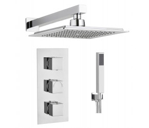 Tailored Chrome Square Concealed Thermostatic 3 Handle 2 Way Shower Kit
