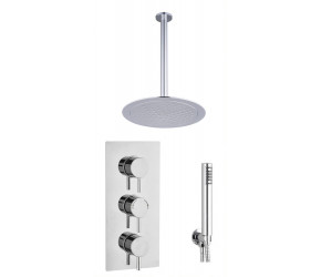Tailored Chrome Round Concealed Thermostatic 3 Handle 2 Way Shower Kit