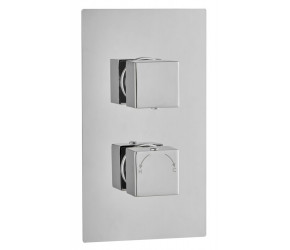 Tailored Square Chrome Concealed Thermostatic 2 Handle 1 Way Shower Valve