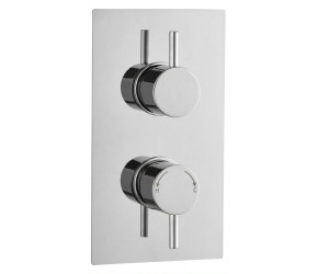 Tailored Round Chrome Concealed Thermostatic 2 Handle 1 Way Shower Valve