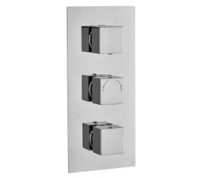 Tailored Square Chrome Concealed Thermostatic 3 Handle 2 Way Shower Valve