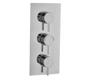 Tailored Round Chrome Concealed Thermostatic 3 Handle 2 Way Shower Valve