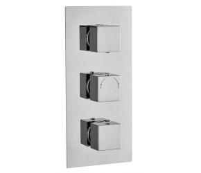 Tailored Square Chrome Concealed Thermostatic 3 Handle 3 Way Shower Valve