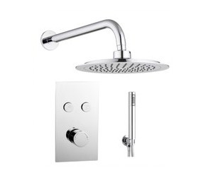 Tailored Round Chrome Twin Push Button Concealed Overhead Shower Kit