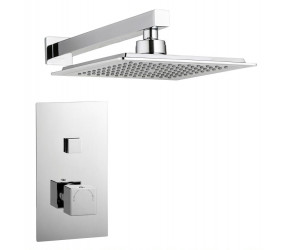 Tailored Square Chrome Single Push Button Concealed Overhead Shower Kit