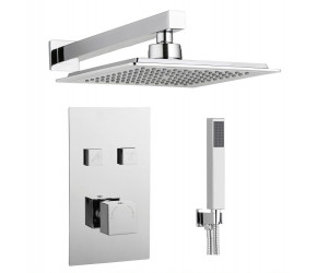 Tailored Square Chrome Twin Push Button Concealed Overhead Shower Kit