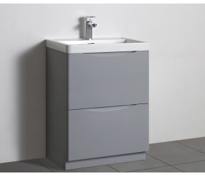Tailored Naples Smile Tailored Grey 600mm Floorstanding Two Drawer Vanity Unit