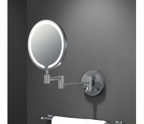 """Tailored Penny Round LED Make Up Mirror 8"""" Chrome"""